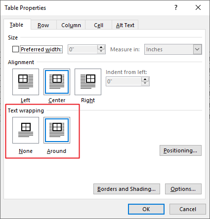 move table in word