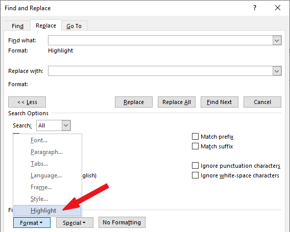 Click on Format>Highligh - remove highlights in Word