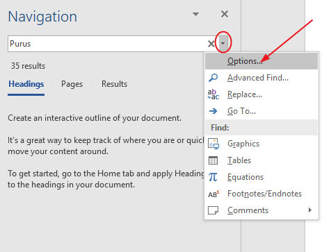 Click on the drop-down arrow next to the search box and select options