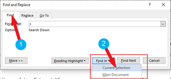 advance search in word document