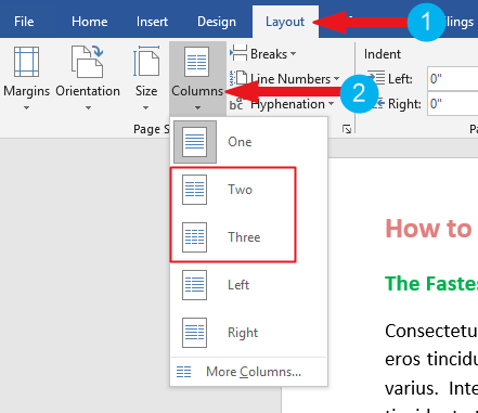 Click on the Two columns optoin