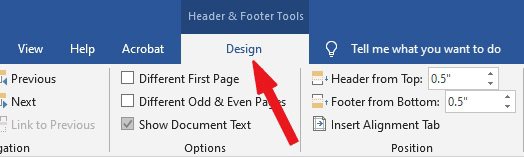 Header & Footer Tools > Design tab