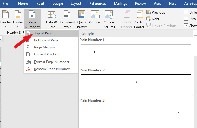 add or insert page numbers in Word