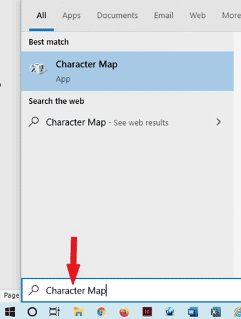 Searching for Character Map