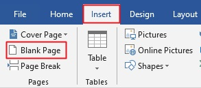 add blank page in Word
