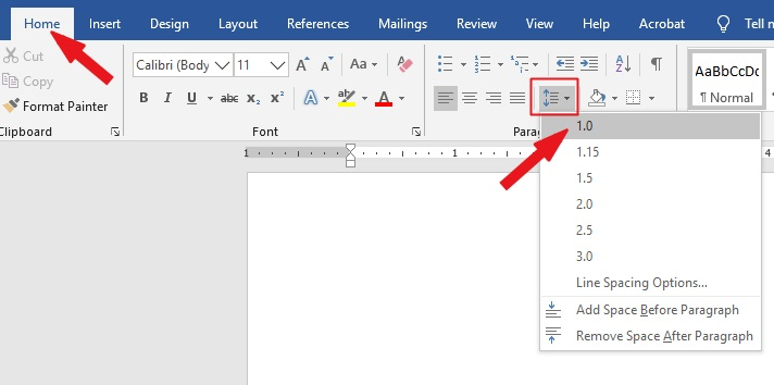 Single space in Word: Go to Home>Paragraph>line and paragraph spacing>1.0