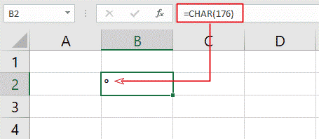 Excel Char function with ° Alt Code