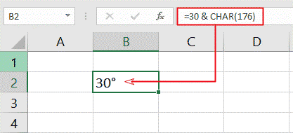 degree alt code in Char function for Excel