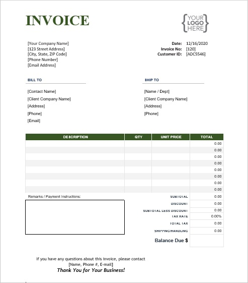 Word Invoice Template with company logo