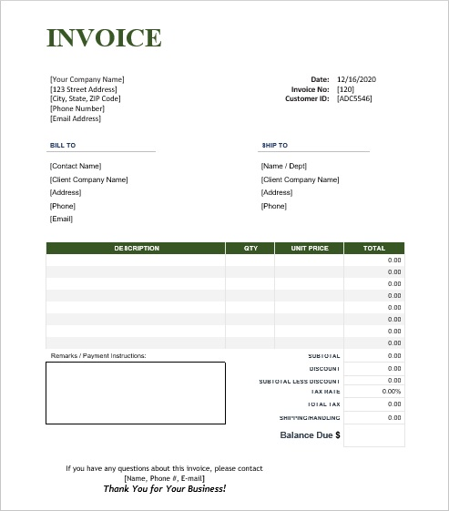 simple invoice template for Word without logo