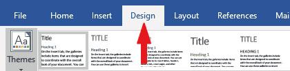 Word Design tab