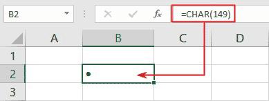 bullet alt code in Excel Char function