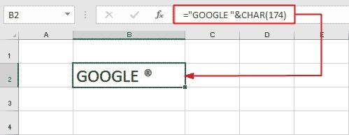 Registered symbol in Excel