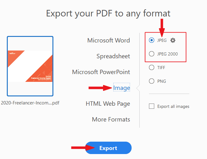 Export PDF to JPG