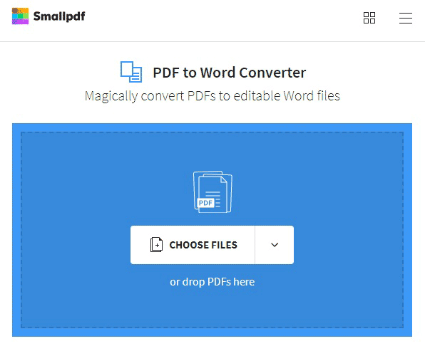 Upload pdf file you wish to open in Word