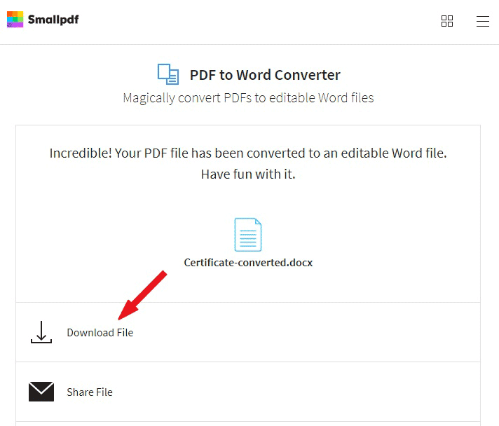 download the converted file
