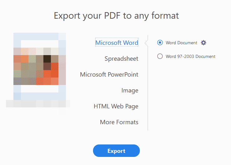 Select Microsoft Word as the Export Option
