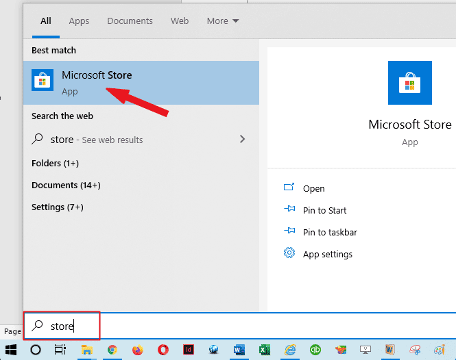 Search for the Windows app Store