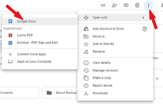 Open the pdf file with Google Docs