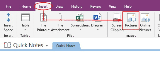 Add the picture to OneNote