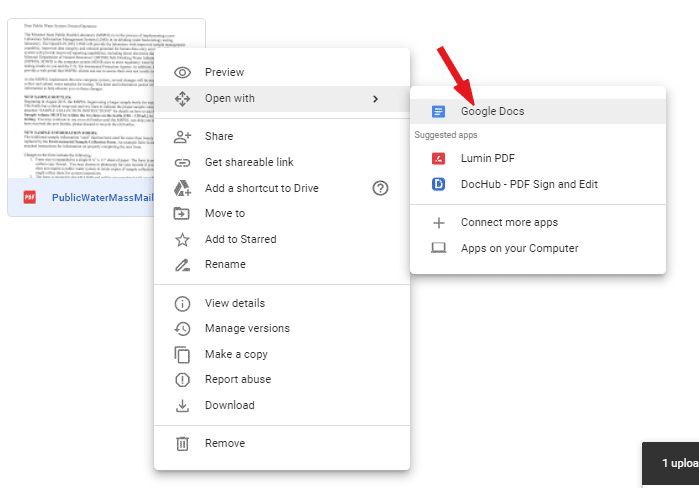 Open the uploaded pdf with Google Docs