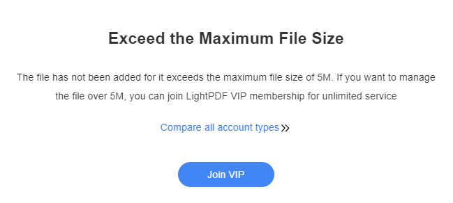 PDF file must not exceed the maximum file size which is 5mb