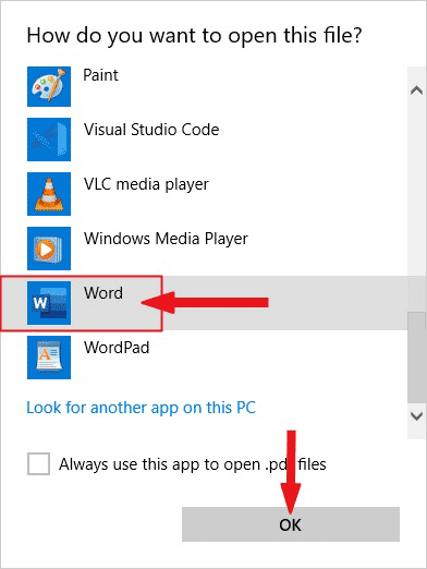 Select Word and click OK