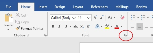 Click the Font launcher to change the default font in your Word document