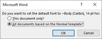 change default font in Word