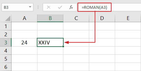 change numbers to roman numerals in Excel