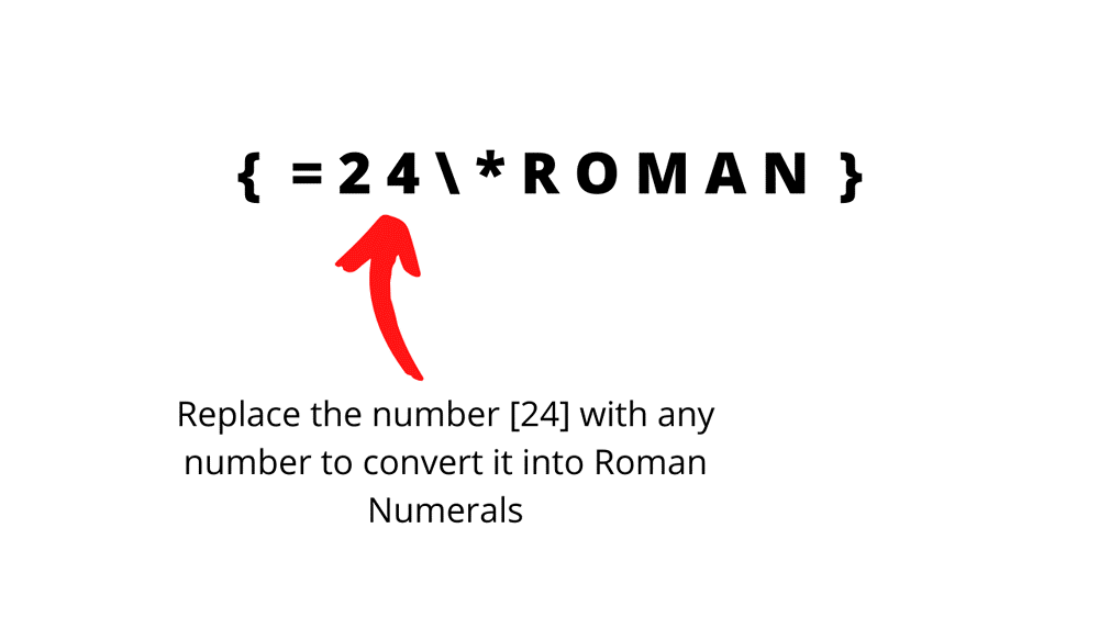 convert numbers to roman numerals in Word