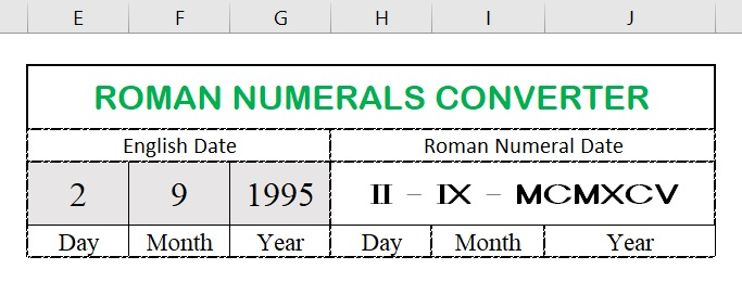 Roman numerals converter for dates in Excel