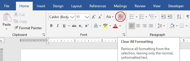 remove text effect in Word