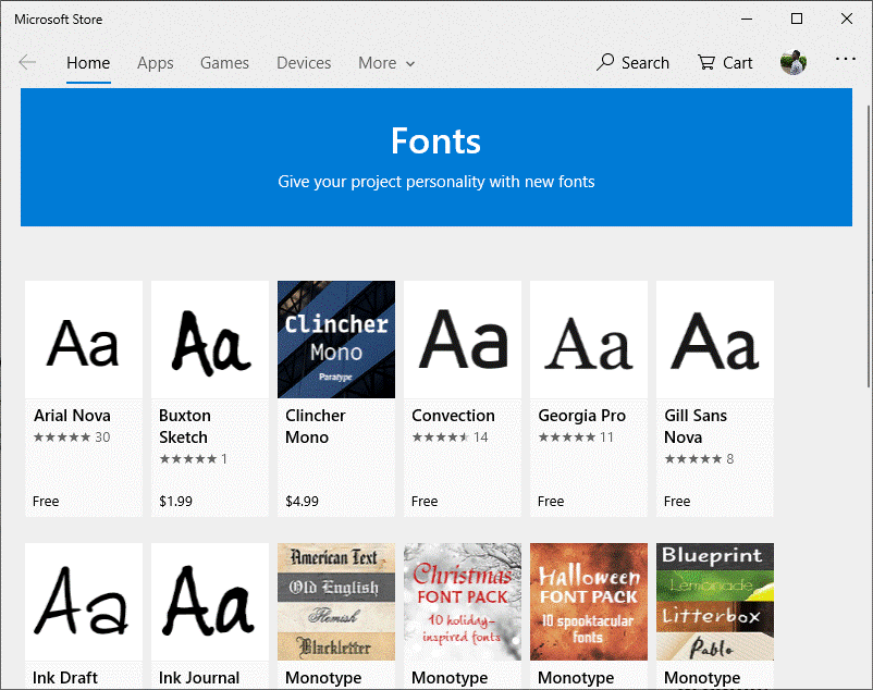 The library of Fonts will Appear
